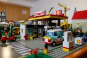 A Shell gas station made of Lego