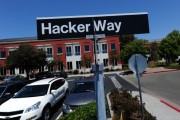 A street sign reading 'Hacker Way' is seen in the parking lot of the Facebook headquarters