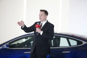 Elon Musk, Chairman of Tesla Motors introduces self-driving features of Tesla cars