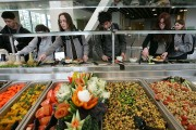 A salad bar with organic vegetables