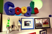 A pinata-style logo hangs in the Google Chicago office