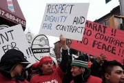 Labor Union Representatives And Activists Demonstrate For Carwash Workers Rights