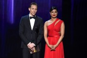 Actors Tom Hiddleston and Priyanka Chopra speak onstage during the 68th Annual Primetime Emmy Awards at Microsoft Theater on September 18, 2016.
