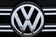A Volkswagen logo is seen on the front of a Volkswagen vehicle at a dealership in Carlsbad, California, April 29, 2013.