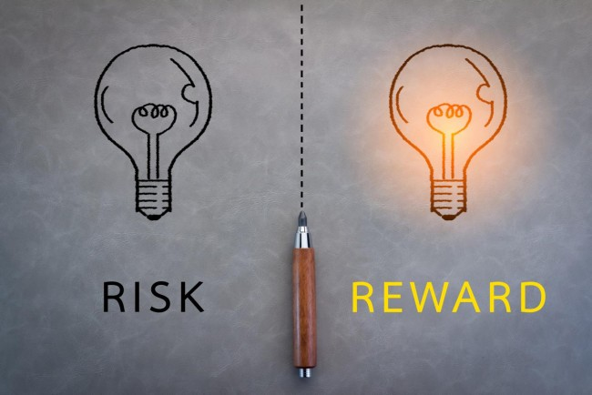 Risk and Reward Word with Grey Background